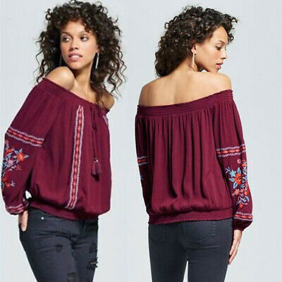 92be7e31208 NWT Xhilaration Target Embroidered Off The Shoulder Top Burgundy Boho  Junior M