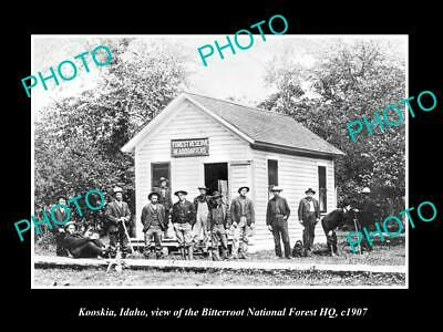 Old Postcard Size Photo Of Kooskia Idaho, The Bitterroot Forest Reserve Hq 1907