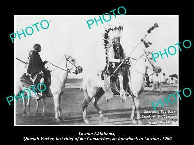 Old 6 X 4 Historic Photo Of Lawton Oklahoma, The Last Comanche Indian Chief 1900