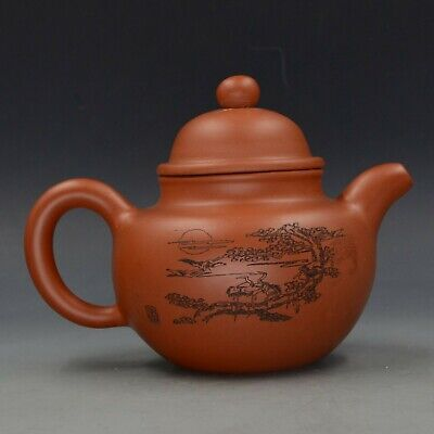 Chinese Yixing ZIsha Hand Carved Zen Heart Teapot Made By Zhou Zhichen