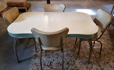 VINTAGE 1950,S TAN Formica Dinette Kitchen Table & 4 -Chairs ...