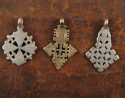 3x Ethiopian neck cross tribal African beads religious gift orthodox church