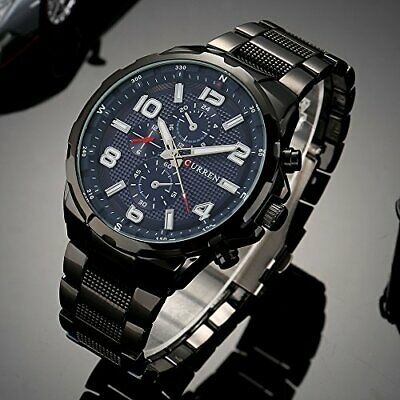 Orologio Da Polso Curren 8276 Uomo Analogico Quarzo Business Nero Blu lac