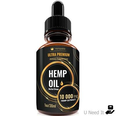 Organic Hemp Oil Drops 10000mg Reduce Stress Joint Support Sleep Aid Pain Relief