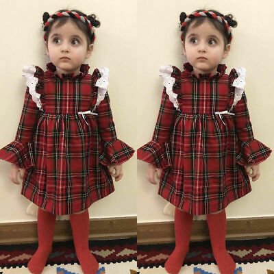 Newborn Kid Baby Girls Lace Plaids Romper Bodysuit Dress Outfit Clothes Gift