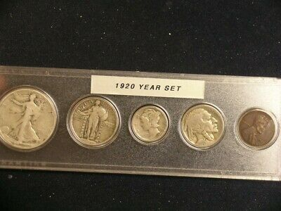 1920 Vintage Circulated Year Set - Nice 5-Coin set