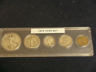 1919 Vintage Circulated Year Set - Nice 5-Coin set