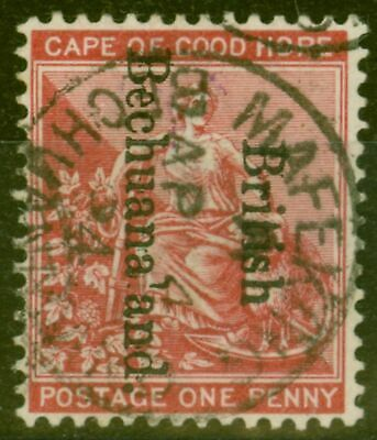 Bechuanaland 1893 1d Carmine-Red SG38var L of Bechuanaland partially Omitted Sup