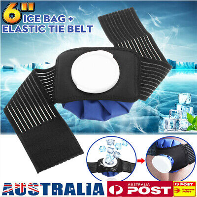 1/2x 6'' Ice Bag Pack Wrap + Belt Strap Hot Cold Therapy Knee Elbows Ankles Head