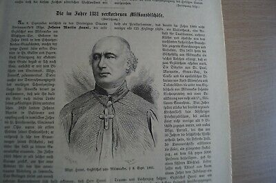 1882 Zeitungsdruck km / 139 / Henni Milwaukee / Barbero Hyderabad Indien