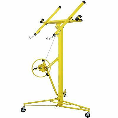 16-19' Yellow Drywall Panel Lifter Hoist Jack Rolling Caster Lockable DIY Tool