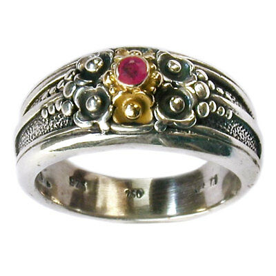 Gerochristo 2206 ~ Solid Gold, Silver & Ruby ~  Medieval-Byzantine Band Ring