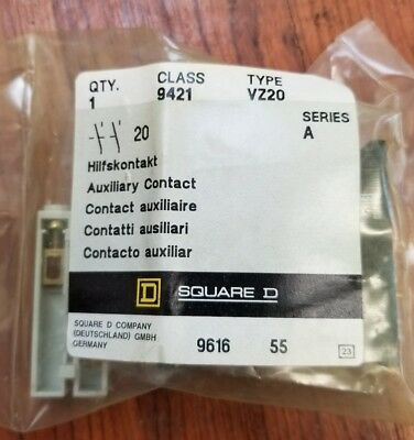 SQUARE D  9421 VZ20 AUXILIARY CONTACT (New/Surplus)