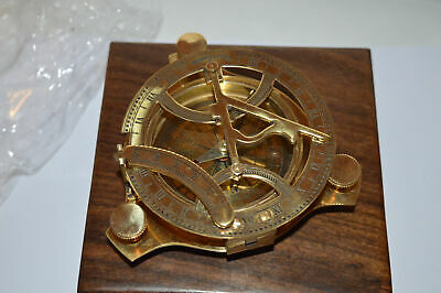 Solid Brass Sundial Nautical Compass with Wooden Box West London, NEW