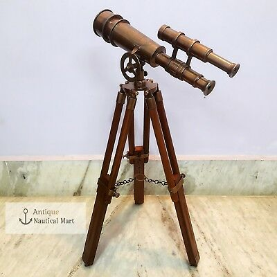 Brass Telescope Double Barrel With Wooden Tripod London 1915 Style