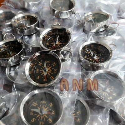 Lot Of 100 Brass Nickle Plated Compass Nautical Compass 35 mm