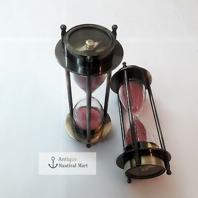 Set of 2 Antique Brass Sand Timer Both Side Compass Nautical Gift 5 Inch