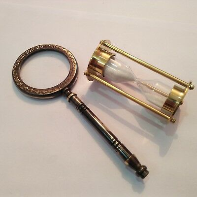 Nautical Marine Brass Mini Sand Timer With Magnifier Gift