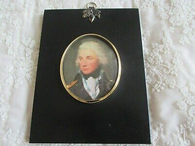 Fine Georgian Style Ebonised Acorn Frame - Miniature Picture of Admiral Nelson