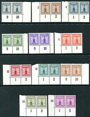 GERMANY-3rd Reich 1942 Party Official Corner Pairs Set of 11 Sg 0798/808 UNM/M