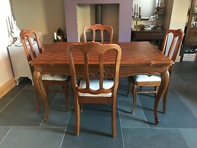 Dining Table Louis XV French Style Carved Oak Extendable + 4 Chairs