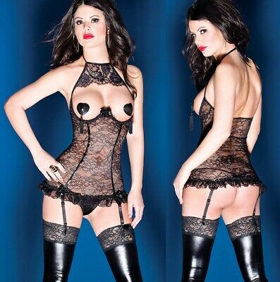 Sexy Black Lingerie See Through Open Bra Lace Babydoll Lady Nightwear Chemise