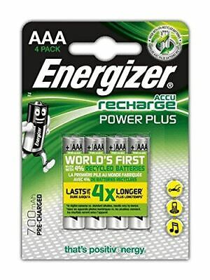 Energizer ACCU 700mAH Rechargeable Power Plus AAA 4 Pack Pre-Charged Batteries