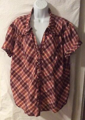 Cato Women's Top Multi-Colored Plaid Short Sleeve Button Down Shirt Size 18/20W