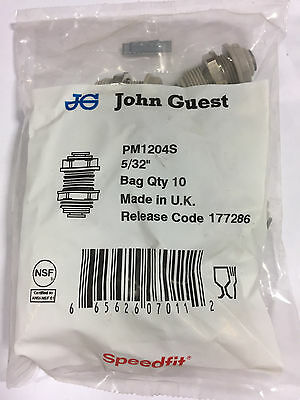 "John Guest PM 1204S bulkhead connector, 5/32"" tube OD (bags of 10)"