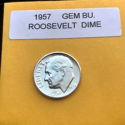 """1957-P Silver Roosevelt Dime Choice/Gem Bu.With """"Mint Luster"""""""