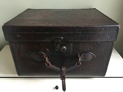 Antique 19th Century Leather Hat Box Travel Case Suitcase Brown Victorian b9