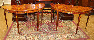 Restored Pair Inlaid Flemish Dutch Marquetry Demilune Console Sofa Tables C1890s