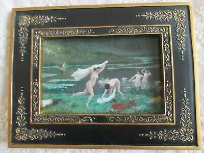 Beautiful Female Nude Bathing Nymphs - Stag Hunt Picture Ebonised Gilt Frame