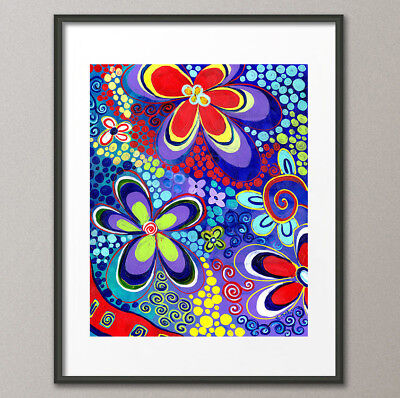 Giclee Fine Art Prints Flower Power Original Painting Psychedelic Abstract Pop