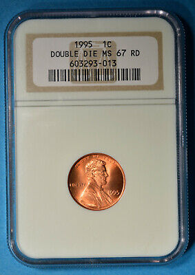 1995 Lincoln Memorial Cent NGC MS67RD- Doubled Die Obverse, Bold Doubling, Sharp