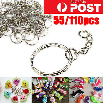 10-110Pcs Bulk Split Metal Key Rings Keyring Blank With Link Chain For DIY Craft