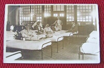 Vintage Circa 1918 Wwi Hospital Infirmary Sepia Tone Real Photo Posted Postcard