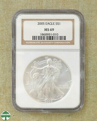 2005 American Silver Eagle - Ngc Slabbed - Ms69