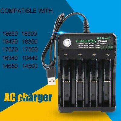 USB/US/EU plug Rechargeable Li-ion Battery Smart 4 Slots 18650 Battery Charger