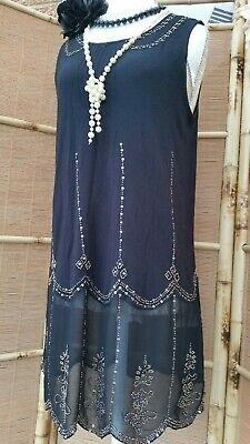 NEXT Vintage 1920s Style Gatsby Flapper Charleston Beaded Sequin Dress Size 10