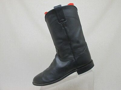 4dc52fad47e JUSTIN ROPER BOOTS Black Leather Cowboy Western Mens Size 8 D Style 3133 USA