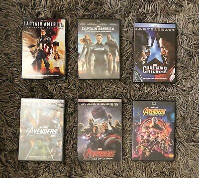 Avengers Trilogy and Captain America Trilogy 6-DVD Bundle BRAND NEWFree Shipping