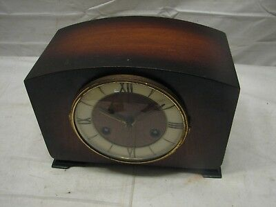 Antique German John Wanamaker Wooden Wood Case Shelf/Mantle Chime Clock w/Key