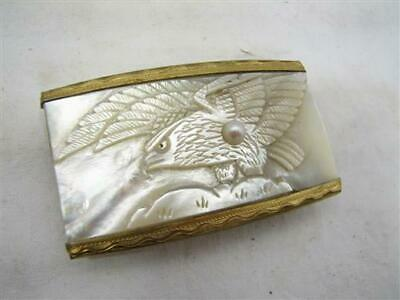 Vintage Carved Eagle MOP Scarf Kerchief Belt Buckle Mother of Pearl Americana