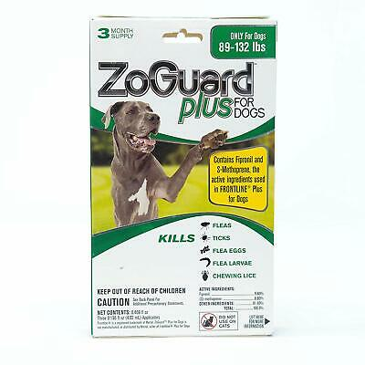 ZoGuard Plus for Dogs 89-132 lbs. 3 Month Supply (3 Applicators) NIP Sealed