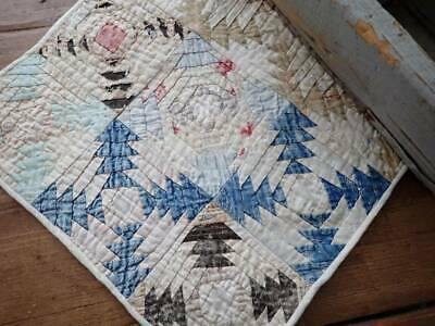 Incredible Small Scale Antique c1880s Log Cabin Table or DOLL QUILT 13x13