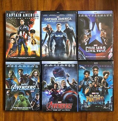 Captain America Trilogy, Avengers, and Black Panther 6-DVD Bundle Brand New Item