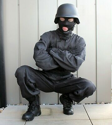 Men's Black SWAT Tactical Police Coverall with Double Zipper - Medium - cosplay