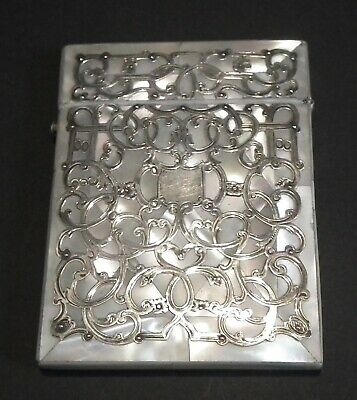Stunning Victorian Silver & Mother Of Pearl Calling / Visiting Card Case