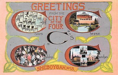 Sheboygan WI 4 CH's: Chairs, Cheese, Children & Churches~Art Nouveau c1914 SHARP